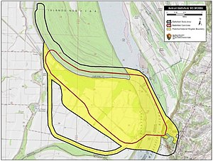 Battle of Belmont - Map of Belmont Battlefield core and study areas by the American Battlefield Protection Program.