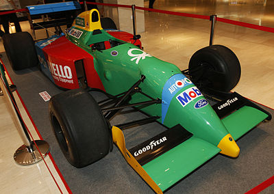 Benetton placed third in the 1990 Formula One World Championship for Constructors Benetton B190 front-right 2010 Pavilion Pit Stop.jpg