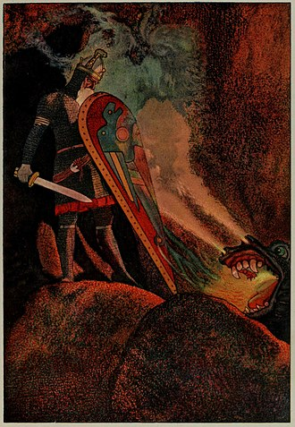 Beowulf - Beowulf face to face with the fire-breathing dragon