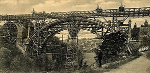 Adolphe Bridge - Charles Bernhoeft: Pont Adolphe under construction (1901)