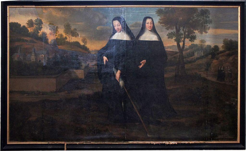 Bertha med en håndtein i hånden skaffer vann fra kilden Livre med sitt kloster i bakgrunnen, fra kirken Saint-Trésain
