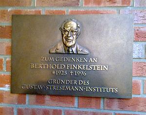 Gustav Stresemann Institute - Commemorative plaque for Berthold Finkelstein, the founder of the Gustav Stresemann Institute