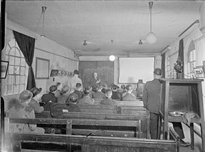 Bevin Boys - A classroom lecture where Bevin Boys are learning about Davy lamp at Ollerton, Nottinghamshire,  in February 1945