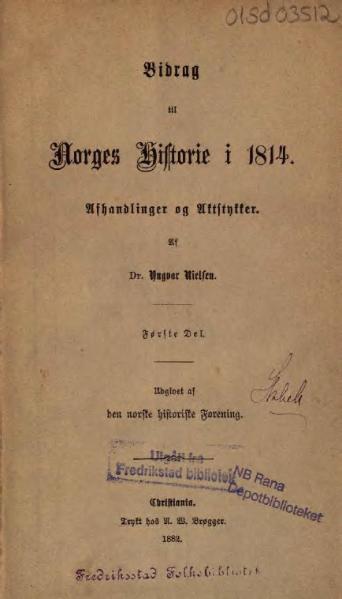 File:Bidrag til Norges Historie i 1814.djvu