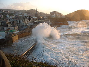 Coastal engineering - Wave attack on Ilfracombe's sea walls during a storm.