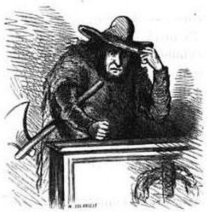 Jean-Martial Bineau - Bineau as a butcher, cartoon by Cham