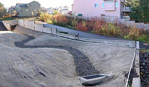 Bioswale - Two bioswales for a housing development. The foreground one is under construction while the background one is established.
