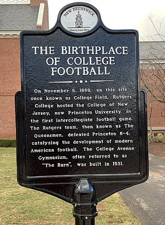 Plaque on College Avenue on the New Brunswick campus of Rutgers University identifying the place where the first college football game was played Birthplace of College football plaque.jpg