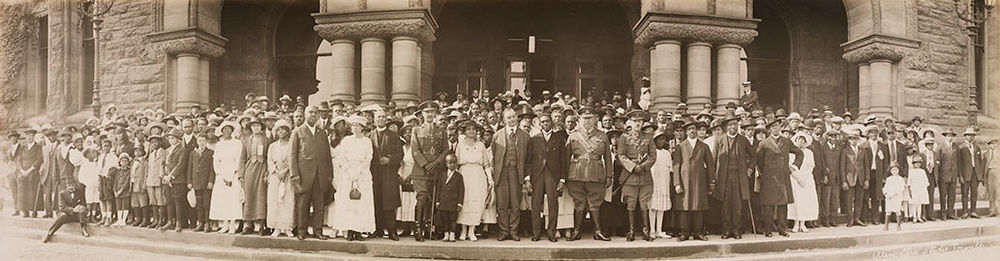 Black Canadians pose with Ontario Premier Ernest Charles Drury at Queen's Park, 1920