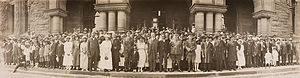 Ernest Charles Drury - A group of mostly black Canadians poses with Premier Drury and Sir Henry Pellatt on the steps of the Ontario Legislative Building in 1920