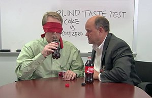 Blind taste test - In this single blind taste test of two cola brands, the experimenter knows which bottle is which