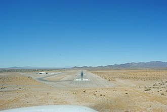 Blythe Airport - Final approach into runway 26 in September 2009.