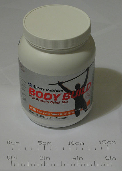 Ficheiro:Bodybuilding supplement high protein drink mix 700g.jpg