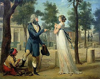 Contempt - A painting by Louis-Léopold Boilly (ca. 1797). The woman has been interpreted as a prostitute (who is disdaining the inadequate coin proffered by the fashionable gentleman getting his shoes shined at left).