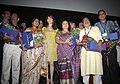 Bollywood Actress, Madhuri Dixit with the jury members of Indian Panorama, at the inauguration of Indian Panorama during the 42nd International Film Festival of India (IFFI-2011), in Panaji, Goa on November 24, 2011.jpg