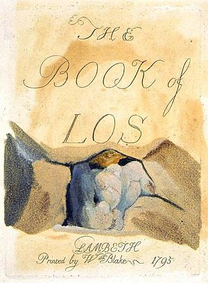 The Book of Los - Title page to The Book of Los, 1795. Intaglio engraving with monoprint colouring. In the collection of the British Museum