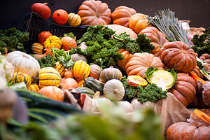 Photograph of pumpkins on a vegetable stall at...