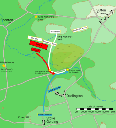 Battlefield map. Red, white and blue boxes converge to the centre of the map. Richard charges into Henry. William Stanley advances to Henry's rescue. Richard fights to his death. Northampton and Lord Stanley remain stationary.
