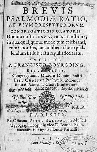 François Bourgoing (singer) - Title page of the Brevis psalmodiae ratio (Paris, 1634). (Paris BNF)