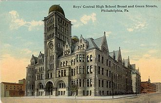 Central High School (Philadelphia) - A postcard of the Boys Central High School, third location, 1904