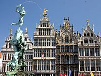 Brabo Fountain and Grote Markt, main square of Antwerp.JPG