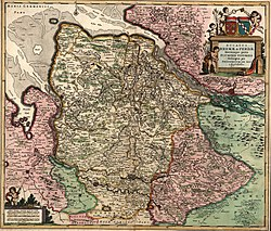 The territory of Verden (pink, below right) around 1655