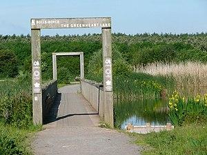 English: Bridge on Greenheart Lake Rosliston F...
