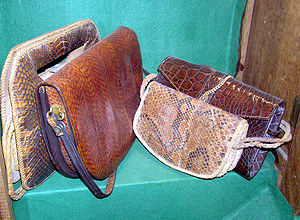 Crocodile skin handbags in a conservation exhi...