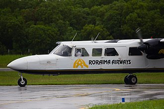 Britten-Norman Trislander operated by Roraima Airways Britten-Norman BN-2A Mk III Trislander Roraima Airways-9921 (10) - Flickr - Ragnhild & Neil Crawford.jpg