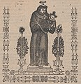 Broadsheet relating to Saint Anthony of Padua who is shown holding the Christ child flanked by a candelabra with flowers MET DP868417 (cropped).jpg