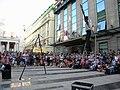 Bucuresti, Romania. Teatrul ODEON. (B-II-m-B-19854) B-FIT IN THE STREET 2018. Spectacol de jonglerie si echilibristica. Echilibristul si jongleorul Juriy Longhi. (5).jpg