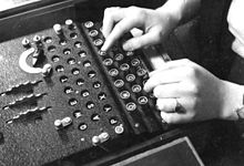 enigma machine being used