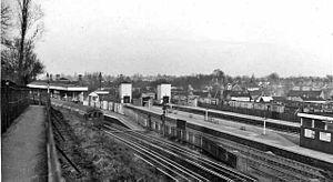 Bushey railway station - View northward, towards Watford Junction in 1962