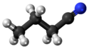Ball-and-stick model of the butyronitrile molecule