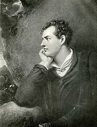Engraved portrait of Lord Byron in 1813.