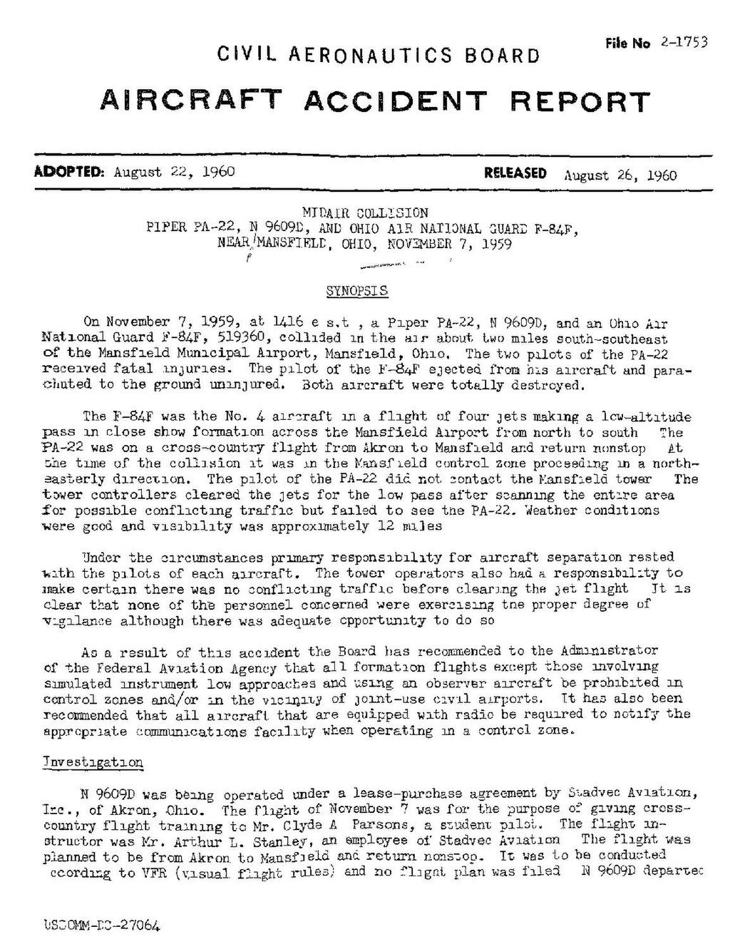 Pagecab Accident Report Mid Air Collision On 7 November 1959pdf1