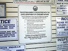 consumer protection  consumer protection laws often mandate the posting of notices such as this one which appears in all automotive repair shops in california