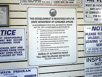 Consumer protection - Consumer protection laws often mandate the posting of notices, such as this one which appears in all automotive repair shops in California