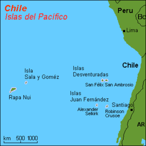 Insular Chile - Map of what is considered insular Chile.