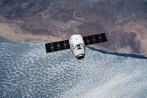 SpaceX CRS-6 - The CRS-6 SpaceX Dragon spacecraft as seen from the ISS on April 17, 2015