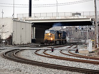Baltimore Terminal Subdivision - Locomotives entering Baileys Wye, heading north to the Howard Street Tunnel.