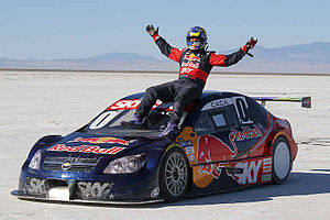 Cacá Bueno - Bueno after running a Chevrolet Vectra on the Bonneville Salt Flats.