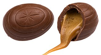 Cadbury Creme Egg - A whole and split caramel egg