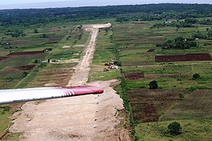 Camotes Islands - Camotes airstrip seen from light plane climbing after take-off