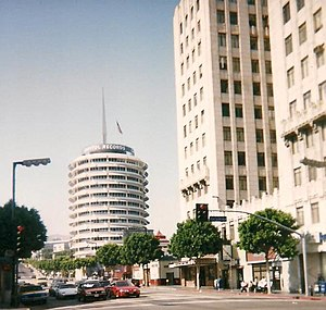 Hollywood and Vine - Capitol Records Building viewed from the intersection, 1997