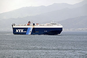 Car carrier Opal Leader transiting the Strait of Messina - 20 Oct. 2010.jpg
