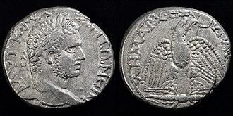 Seleucia Pieria - silver tetradrachm struck in Seleucia by Caracalla 215-217 AD