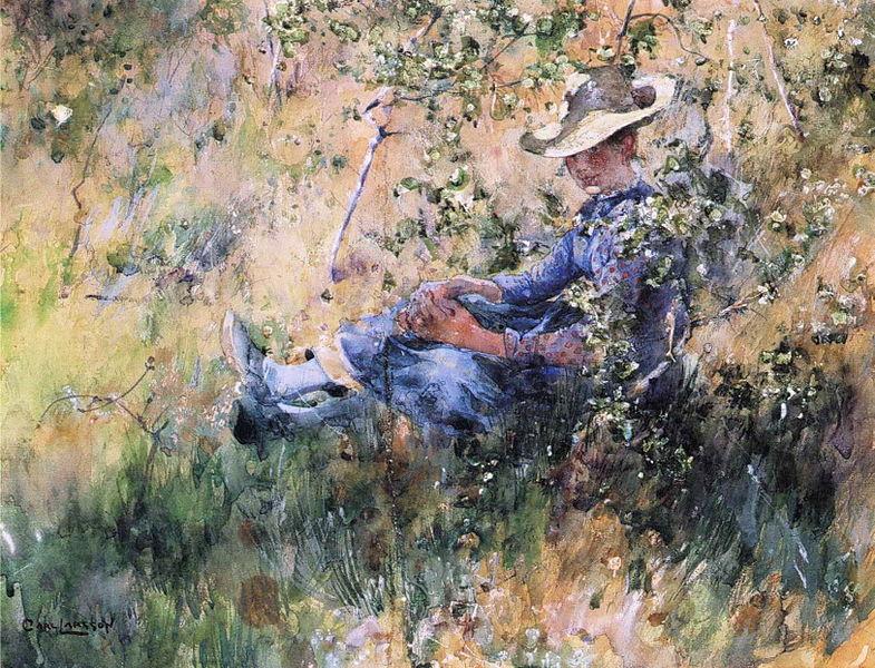 Файл: Карл Ларссон - Девушка с цветущим кустом боярышника.JPG