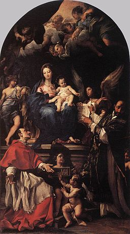 Carlo Maratta - Madonna and Child Enthroned with Angels and Saints - WGA14047