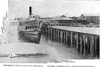 Carrabelle, Tallahassee and Georgia Railroad - Steamer Crescent City at terminus in Carrabelle (1895)